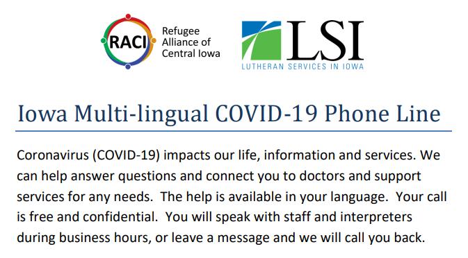 Multi lingual Covid Hotline